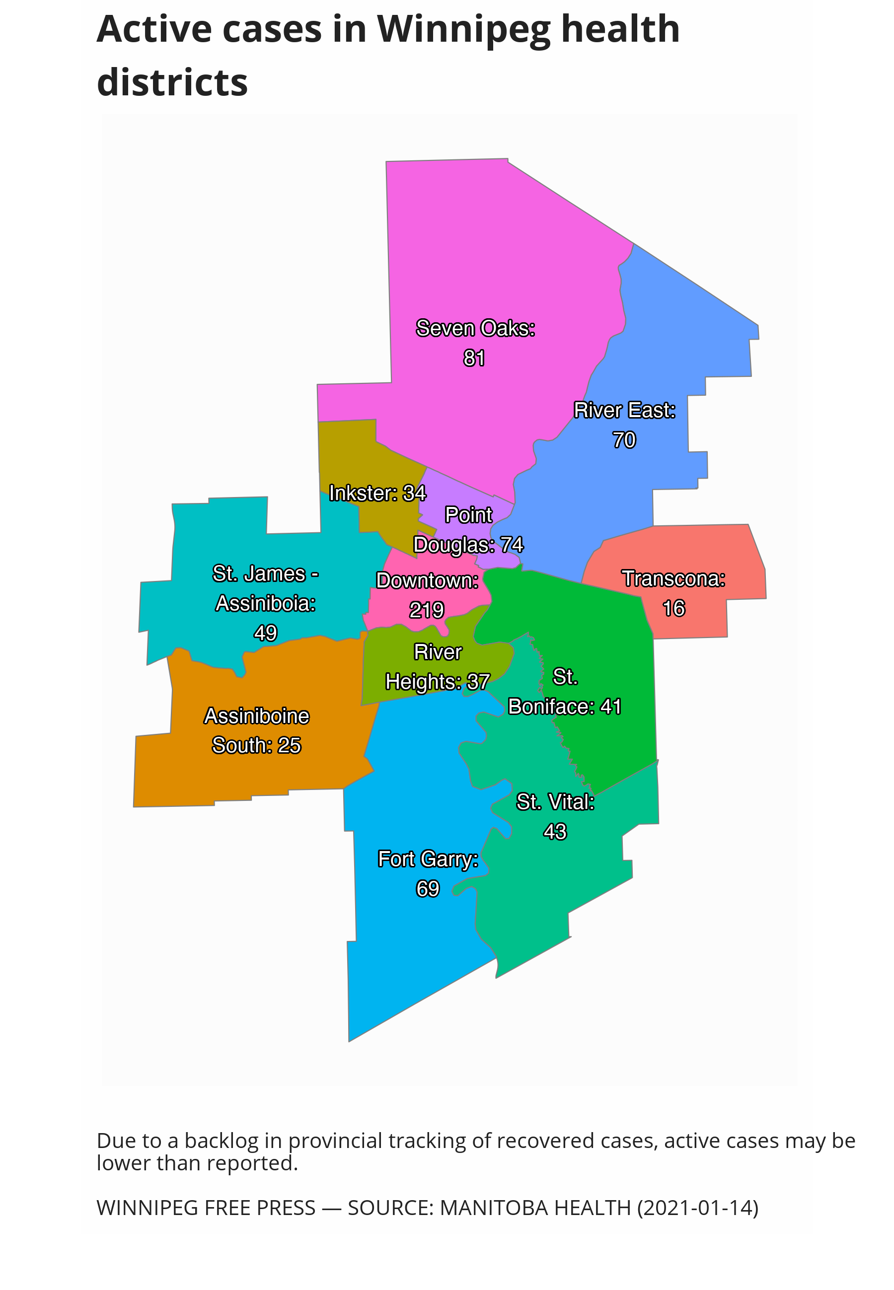 Map showing active cases of COVID-19 by Winnipeg health districts